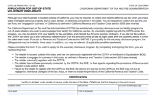 CDTFA-38 for out of state voluntary disclosure